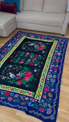 Very charming design on this rug, beautiful storks on a springish floral decor, electric blue and black background with electric yellow accents, delicate little flowers and vibrant pink roses. Create Yourself, Finding Yourself, Storks, Yellow Accents, Little Flowers, Wool Carpet, Electric Blue, Black Backgrounds, Pink Roses