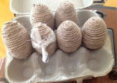 burlap-covered eggs for shabby chic persian wedding. LittleVintagePlace on Etsy, $18.00