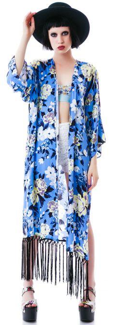 Nameless Beauty Rose No Pain Fringe Kimono | Dolls Kill