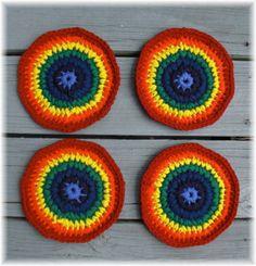 Rainbow Colors Trivet / Hot Pad Set Crochet by DebbieCrochets