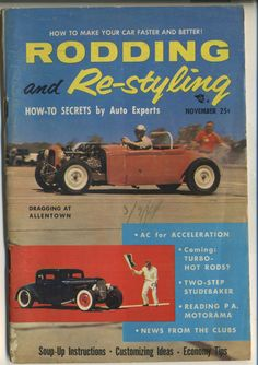Rodding and Re-Styling Magazine Vintage November 1955 Drag Racing