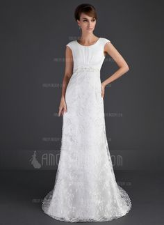 A-Line/Princess Scoop Neck Court Train Satin Tulle Lace Wedding Dress With Ruffle Beading (002001630)