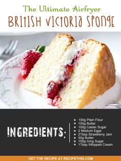 Welcome to The Ultimate Air fryer British Victoria Sponge recipe. I love a Victoria sponge, though in the old days it would always be called a British…… Victoria Sponge Recipe, Victoria Sponge Cake, Mini Tortillas, Just Desserts, Delicious Desserts, Dessert Recipes, British Desserts, British Recipes, English Desserts