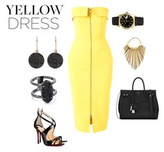 """Yellow dress"" by genykingsley on Polyvore featuring Alex Perry, Yves Saint Laurent, Rolex, Christian Louboutin, Kendra Scott, Astley Clarke and Balmain"