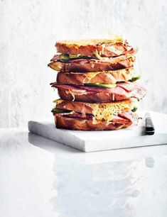 Double cheese, pickle and ham toasties.