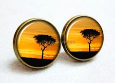 sunset with trees 14mm vintage earrings studs resin by GUOSHOP, $4.20