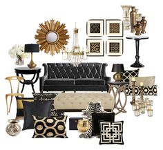 """Black and Gold Living Room"" by chloeg01 ❤ liked on Polyvore featuring interior, interiors, interior design, home, home decor, interior decorating, Jayson Home, Ethan Allen, Surya and Universal Lighting and Decor"