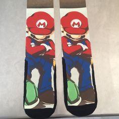 Custom Mario Socks #likeaboss #vintage #videogames #mariobros #nintendo #socks #sockgod #sockgame #sockoftheday #ilclothing #forthefans #forthefansapparel by trefloyd13