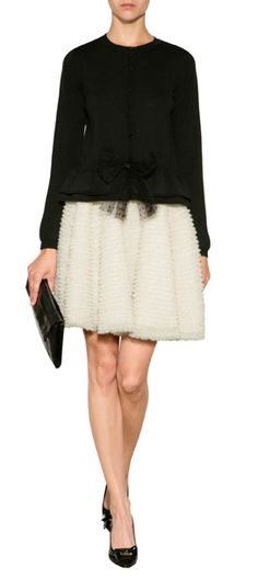A pretty dotted organza bow lends an ultra-feminine finish to this soft wool pullover from RED Valentino #Stylebop