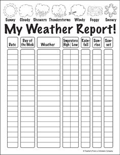 My Weather Report Winter is full of wild weather, and your kids will enjoy flexing their science and observation skills with this printable sheet. 2nd Grade Worksheets, Science Worksheets, Science Lessons, Science Activities, Homeschool Worksheets, Printable Worksheets, Homeschooling 2nd Grade, Weather Activities For Kids, 2nd Grade Activities