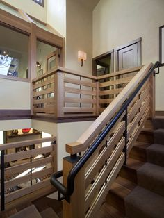 Contemporary Stair With Hand Railing: Amazing Modern Staircase With Contemporary  Stair Railing And Door Wood