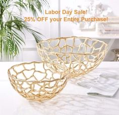 This striking set of decorative bowls features a captivating open-web design. Constructed of aluminum finished in a gold color, these bowls will liven up any surface in your space. Color: gold (color varies) Size: H: • Dia: H: • Dia: 16 Take You Home, Tray Decor, Design Consultant, Home Accents, Home Gifts, Decorative Bowls, Artisan, Home And Garden, Interior Design