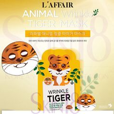 L'affair Animal Wrinkle Tiger Mask.  Animal cute mask pack series were made by natural cotton cellulose as well as natural inks from plant. This is a super cute skin care product from Korea. it is not only fun but it can also make your skin glow and smooth with brighten effect.