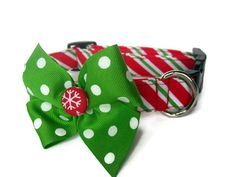 Christmas Stripes Dog Collar size Small by jeanamichelle on Etsy, $15.00