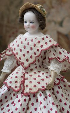 "15"" (38 cm)  Antique  French Fashion China porcelain Doll with cobalt blue glass eyes attributed to Rohmer, c.1860"