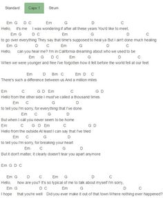 Here are the Adele Songs You Love Most Adele Hello Chords Lyrics for Guitar Ukulele Piano Keyboard with Strumming Pattern on Standard No capo, Tune down and Capo Version. Guitar Chords For Songs, Music Chords, Lyrics And Chords, Ukulele Songs, Piano Songs, Music Guitar, Piano Sheet Music, Music Lyrics, Guitar Tips