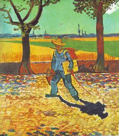 Painter on the Road to Tarascon, August 1888, Vincent van Gogh on the road to Montmajour, oil on canvas, 48 × 44 cm., formerly Museum Magdeburg, believed to have been destroyed by fire in World War II man wearing a straw hat, carrying a canvas and paintbox, walking to the left, down a tree lined, leaf strewn countryroad