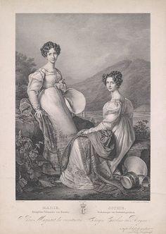 Erzherzogin Sophie mit ihrer Schwester Marie, Königin von Sachsen. Lithograph by Franz Seraph Hanfstaengel (1804-1877)