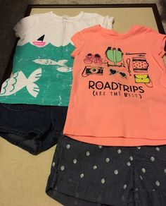 CARTERS girls 4-piece Mixed Outfit, Size 5, 2-Tee Shirts, 2-Pair Shorts  | eBay