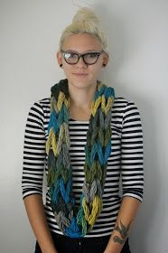 Poverty Luxe.: arm-knit infinity scarf tutorial. Phot tutorial