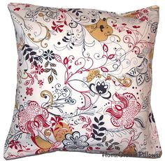 Decorative Throw Pillow Cover  Michael Miller Fleur Tattoo Fabric  Removable Cover 16x16 - SALE ITEM. $10.00, via Etsy.