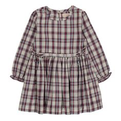 Simple Kids Peugeot Checked Dress Ecru