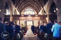Bride and groom ceremony in church, Devon Farm wedding
