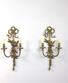 Fabulous traditional pair of oak leaf wall sconces Candle Sconces, Wall Sconces, Oak Leaves, Leaf Decoration, Wall Lights, Bow Tops, Candles, Traditional, Brass