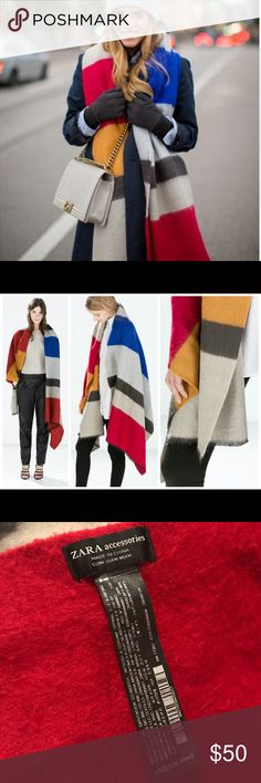 Zara color block scarf Pre owned. Trendy color block blanket scarf. Red blue mustard and grey. Great condition. Zara Accessories Scarves & Wraps