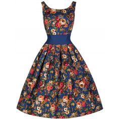 'Lana' Vintage Dark Blue Floral 50's Inspired Swing Dress (3.555 RUB) ❤ liked on Polyvore featuring dresses, blue, dark blue dress, vintage white dress, white dress, white skater skirt and flower print dress