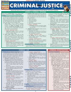 This 6-page guide contains the key information for any Criminal Justice course. This guide contains information on: Crimes & criminal offenses, criminal law, criminal investigation, criminal prosecution and much more. Browse and download thousands of educational eBooks, worksheets, teacher prese