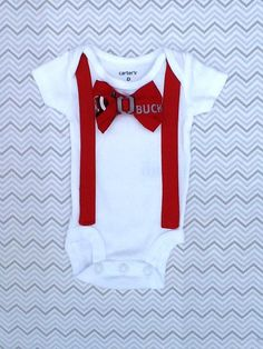 Baby Boy Ohio State Football Bow Tie with Red by SmashcakeBoutique, $18.00