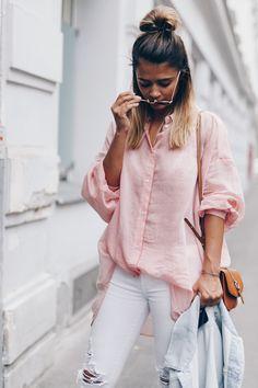 Pink button down + white denim.