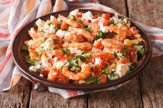 Shrimp in Tomato Sauce with Feta Cheese - Main Dishes - Feta Cheese Recipes, Shrimp Salad Recipes, Seafood Recipes, Chicken Recipes, Seafood Menu, Cheese Dishes, Shrimp In Tomato Sauce, Creamy Tomato Sauce, Spicy Shrimp