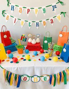 Rainbow Birthday Decorations, Baseball Party Decorations, Colorful Birthday Party, Ball Birthday Parties, Ball Decorations, Baseball First Birthday, 2nd Birthday, Happy Birthday, Birthday Gifts