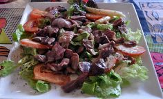 Salad Quercy of Gesiers Confit (duck gizzards) Specialty Foods, The Dish, Food And Drink, Salad, Beef, Dishes, Meat, Tablewares, Salads