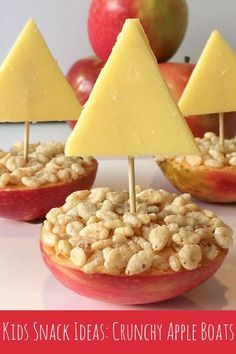 Simple Kids Snack Ideas: Crunchy Apple Boats You will need: Apples – each apple makes two boats Your favourite spread – we used peanut butter but you could try honey, sun butter or Nutella Puffed rice or Rice Bubbles Cheese Toothpicks basiccooking Preschool Cooking, Preschool Snacks, Cooking With Kids, Cooking Light, Basic Cooking, Kids Cooking Activities, Toddler Snacks, Healthy Snacks For Kids, Fun Food For Kids