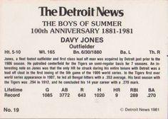 1981 Detroit News Detroit Tigers #19 Davy Jones Back