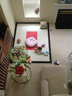 """she's really happy playing on it with all her toys!"" SoftTiles 2x2 Interlocking Foam Mats, play mats for kids."