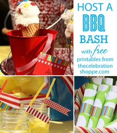 Host a BBQ Bash with FREE party printables from thecelebrationshoppe.com ~ includes napkin rings, straw slips and placecards