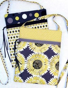 This purse is smart looking, easy to make and fat quarter friendly. The bag is fully lined and features a back pocket and narrow shoulder strap. Just the r