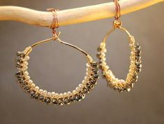 Cleopatra 105 Hammered dropped hoops wrapped with Black Spinel and Ivory Pearls by Calico Juno Jewelry Etsy