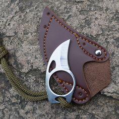 Karambit de supervivencia Cuchillo Táctico Supervivencia al aire libre Que Acampa Mini Mosquetón Garra Anillo de cuchillo de la Tarjeta de crédito tarjeta de cuchillo Envoltura de Cuero