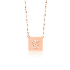 Made Simply Boutique's Square Necklace in Rose Gold, Letter C