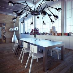 Like the mixture of soft warmth from the wood and the funky industrial furniture and chandelier