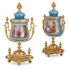 Pair of ormolu and Sèvres style porcelain vases | Style of Sèvres (French, founded 1738) | French | Late 19th Century. More details online at mayfairgallery.com Urn Vase, Rococo Style, Acanthus, Porcelain Vase, Decorative Objects, 19th Century, Antique Vases, Modern Vases, Bronze