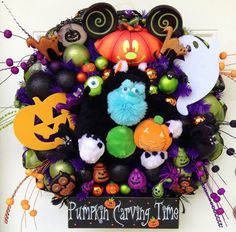 Halloween Disney Monsters Sulley Wreath - RESERVED FOR STACEY on Etsy, Sold