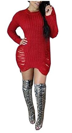 264f9bb1d8724 Coolred Womens Plus Size Pullover Mid Long Destroyed Sweaters Blouse    You  can find out