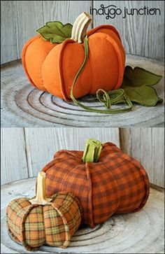 Indygo Junction's Pumpkin Trio pattern will dress up your home for fall with our set of three pumpkins. Two styles included - dimensional exterior seams or traditional seaming. Use real dried stems or create your own leaf and stem details from Crossroads Denim. $9.99