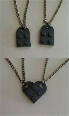 mother/son lego necklaces.....one piece of jewelry i think jace would wear. The heart they make is so cute!